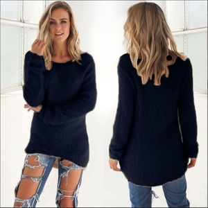 *LIMITED* Navy Fuzzy Long Sleeve Pullover Sweater